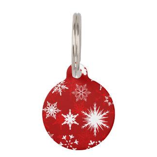 Festive Christmas snowflakes Pet ID Tag