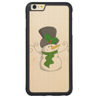 Festive Christmas Snowman Cartoon Carved Maple iPhone 6 Plus Bumper Case