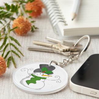 Festive Christmas Snowman Cartoon Key Ring
