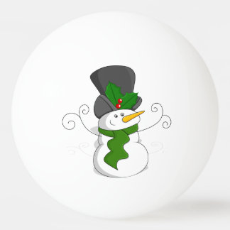 Festive Christmas Snowman Cartoon Ping Pong Ball