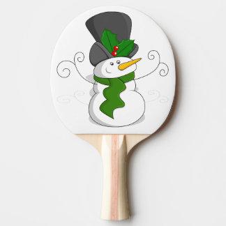 Festive Christmas Snowman Cartoon Ping Pong Paddle