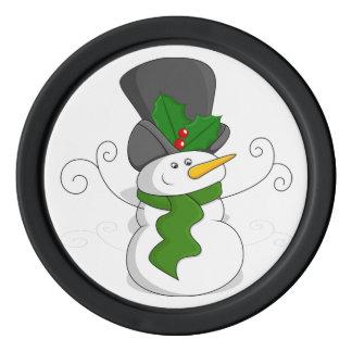 Festive Christmas Snowman Cartoon Poker Chips