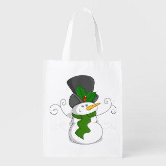 Festive Christmas Snowman Cartoon Reusable Grocery Bag