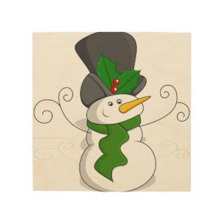 Festive Christmas Snowman Cartoon Wood Wall Art
