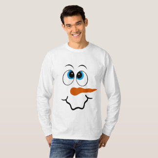 Festive Christmas snowman face mens t-shirt