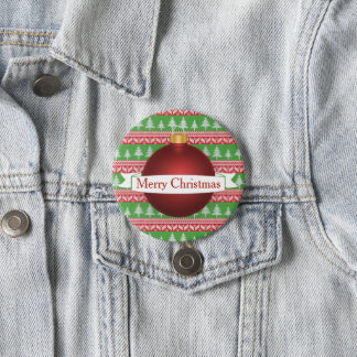 Festive Christmas Sweater Print & Red Ornament 7.5 Cm Round Badge