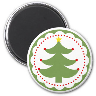 Festive Christmas Tree on round magnet