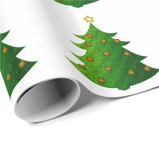 Festive Christmas Tree Wrapping Paper