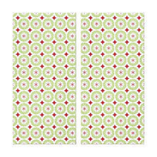 Festive Christmas Wreath and Star Pattern Stretched Canvas Prints