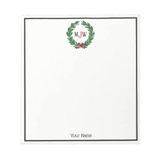 Festive Christmas Xmas Holly Wreath Monogram Notepad