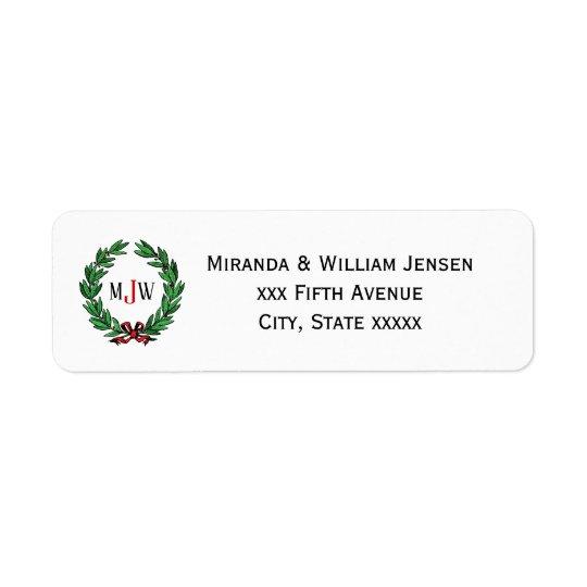 Festive Christmas Xmas Holly Wreath Monogram Return Address Label