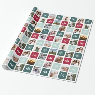 Festive Collage Monogram | 15 Photo Holiday Wrapping Paper