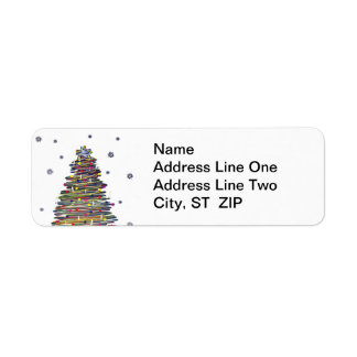 Festive Colorful Christmas Tree (Customize It!) Return Address Label