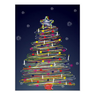 Festive Colorful Christmas Tree (Customize It!) Poster