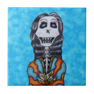 Festive Colorful Day of Dead Female Skeleton Aqua Small Square Tile