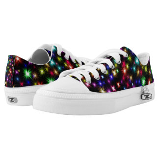 Festive colorful fireworks black holiday sneakers