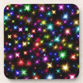 Festive colorful fireworks holiday coasters