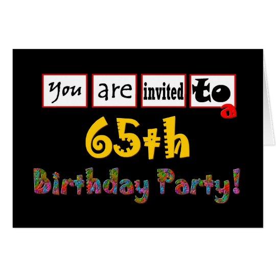 Festive & Colourful 65th Birthday Party Invitation