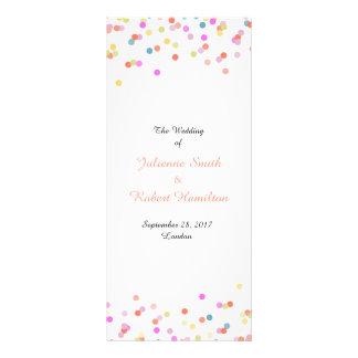 Festive Confetti Wedding Ceremony Program Rack Card