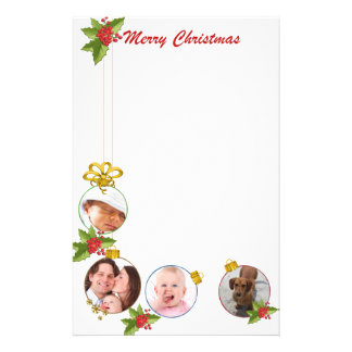 Festive Custom Photos Christmas Stationery