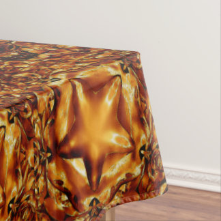 Festive Elegant Brown Gold Copper Christmas Stars Tablecloth
