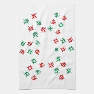 Festive falling Snowflakes Hand Towel