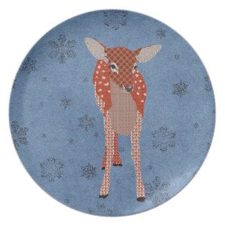 Festive Fawn Blue Snowflake Plate