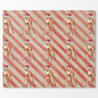 Festive Fawn Candy Cane Wrapping Paper
