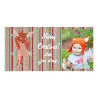 Festive Fawn Christmas Stripes Photo Card