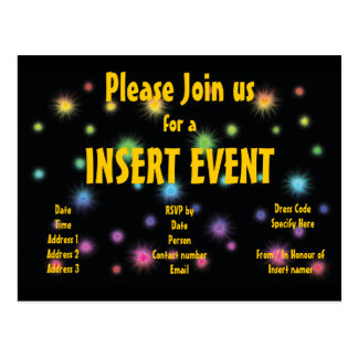 Festive firework invitations - customizable