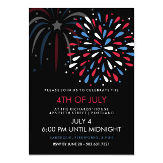 Festive Fireworks 4th of July Party Invitation