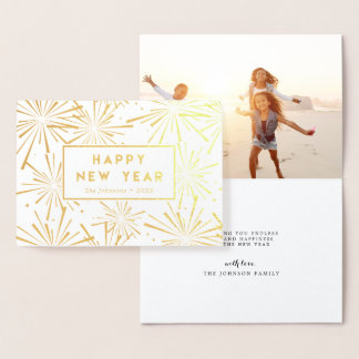 Festive Fireworks   Happy New Year Photo Gold Foil Card