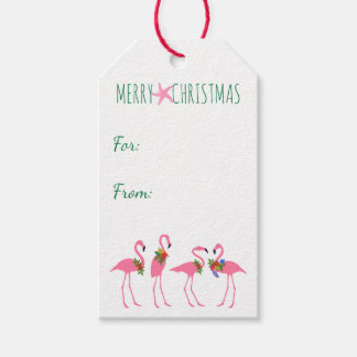 Festive Flamingos Christmas Tie On Gift Tags