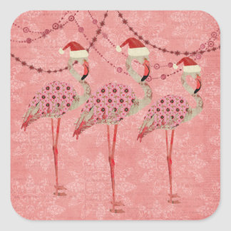 Festive Flamingos Pink Holiday Sticker
