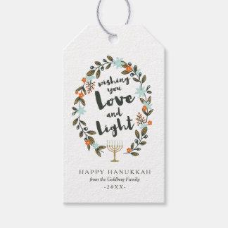 Festive Floral Hanukkah Gift Tags