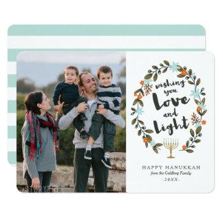 Festive Floral Hanukkah Photo Card