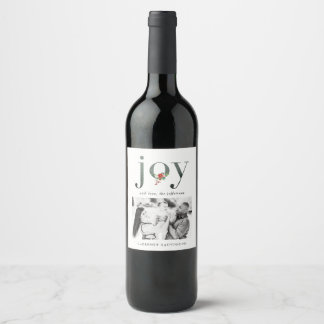 Festive Florals JOY Custom Holiday Wine Labels