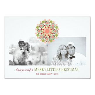 Festive Flower Merry Little Christmas Greetings 11 Cm X 16 Cm Invitation Card