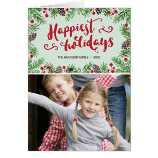 Festive Foliage | Calligraphy Holiday Photo Card