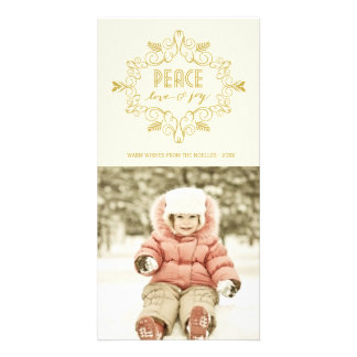 Festive Foliage Peace Holiday Greetings Photo Card