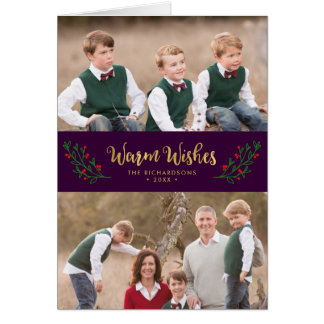 Festive Foliage Warm Wishes Holiday Photo Card