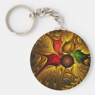 Festive Fractal Flower Keychains