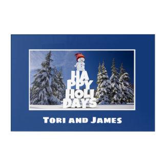 Festive Fun Snowman Photograph Frame Personalize Acrylic Print