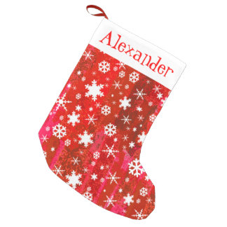 Festive Fun Vibrant Snowflakes Abstract Red Small Christmas Stocking