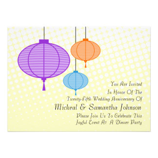 Festive Garden Paper Lanterns Anniversary Invitati Personalized Invitation