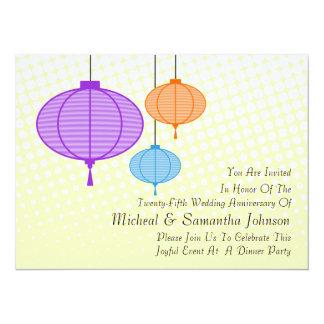 """Festive Garden Paper Lanterns Anniversary Invitati 5.5"""" X 7.5"""" Invitation Card"""