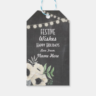 Festive Gift Tags Christmas Floral Merry Xmas Tag