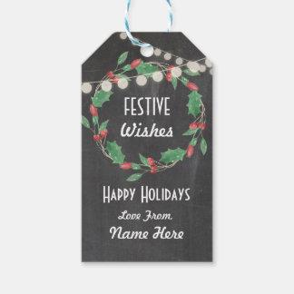 Festive Gift Tags Christmas Wreath Merry Xmas Tag