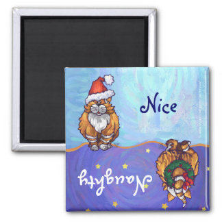 Festive Ginger Cat Naughty Nice Holiday Magnet
