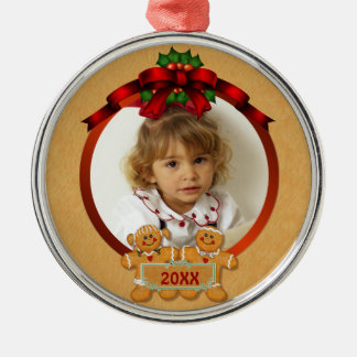 Festive Gingerbread Boy and Girl Metal Ornament